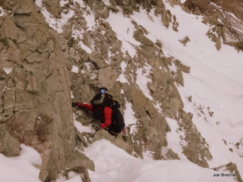 Exposed scrambling above the N. Couloir preceeds the ridge