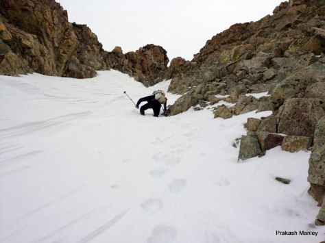 Joe builds a staircase near the top of the N. Couloir on Lindsey